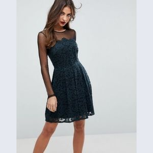 ASOS lace & dobby skater dress emerald lace mini 2